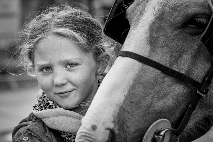 Tom-Girl with Horse BW