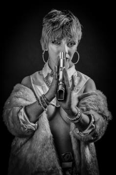 Tom-Lady with Gun BW